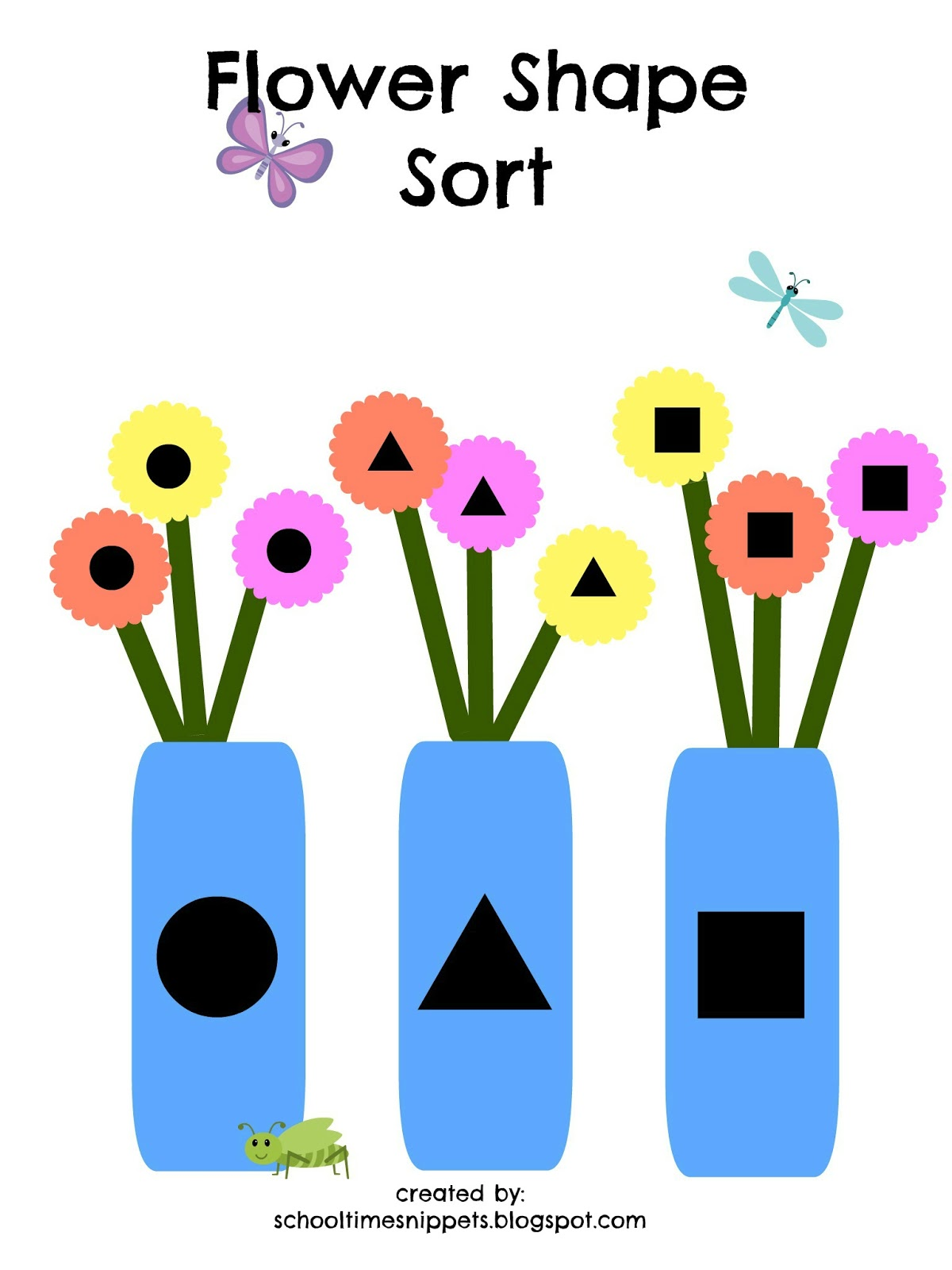 Free Flower Shape Sort Printable For Toddlers