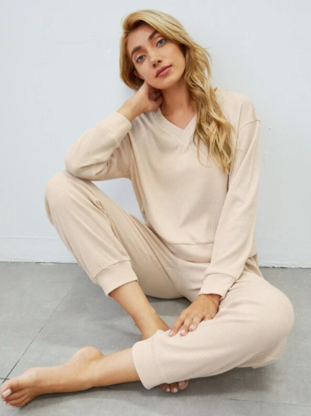 Beige V neck loungewear set
