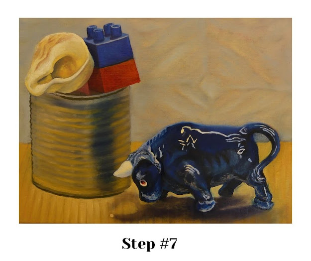 STEP #7: The building blocks & the bull's reflections & highlights.