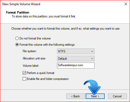 New simple volume wizard format partition