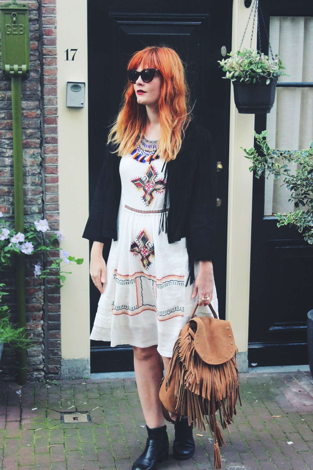 Suede fringe Jacket & Embroidered Bohemian Dress