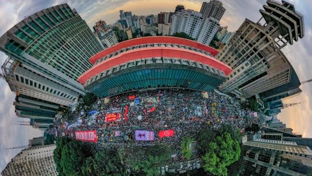 A foto mostra a Avenida Paulista, SP, na manifestação do Fora Bolsonaro de 19 de junho de 2021.