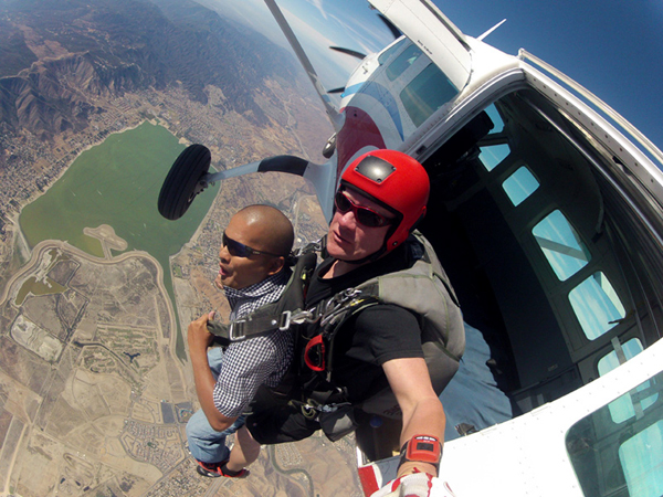 Celebrating my 35th birthday by doing a tandem skydive above Lake Elsinore, California, on October 4, 2014.