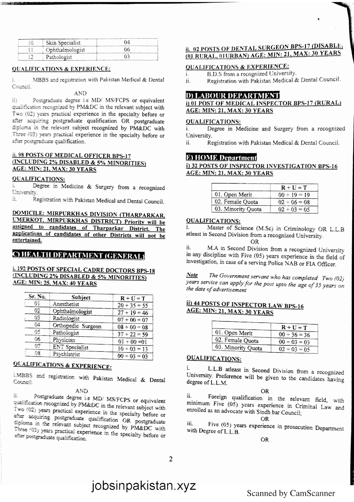 SPSC Advertisement 01/2019 Page No. 2/6