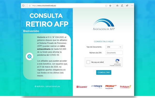 Consulta retiro AFP, solicitar el retiro online hasta 2000 soles de fondos AFP consultaretiroafp.pe