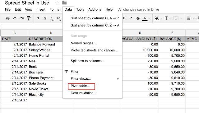 Spreadsheet in Use: Create Pivot Report
