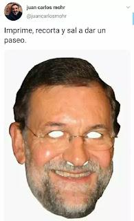 Cara de Mariano Rajoy como si fuera una careta para recortar