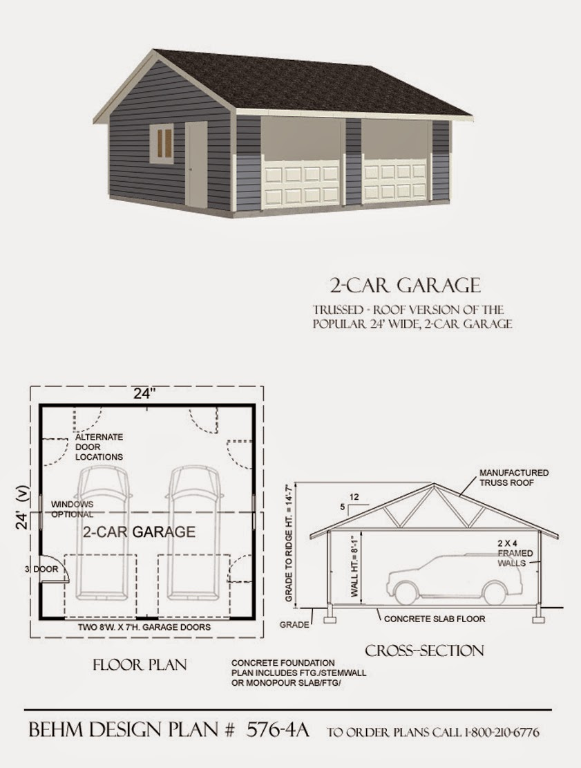 garage plans blog behm design garage plan examples plan 576 4a reverse gable 2 car garage. Black Bedroom Furniture Sets. Home Design Ideas