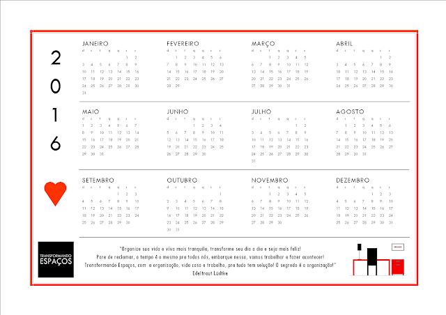 Calendário 2016 para você imprimir!