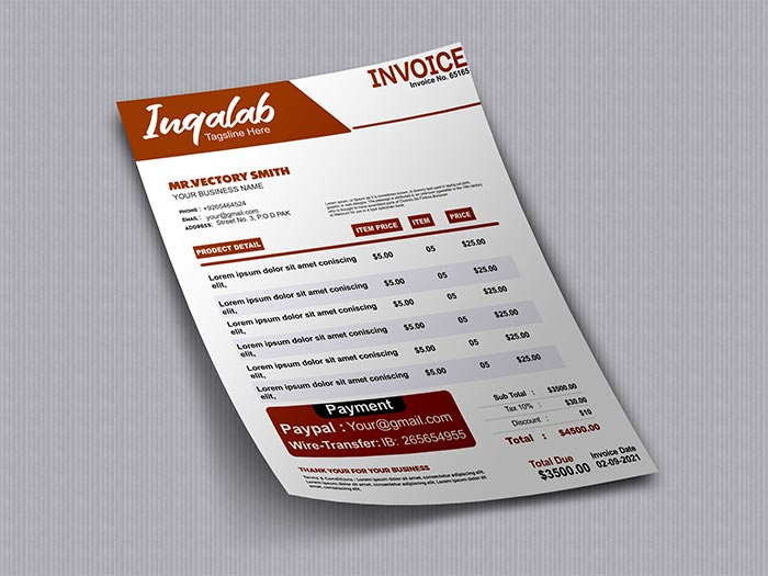 Business Invoice Design Template CorelDraw Cdr Vector File Download