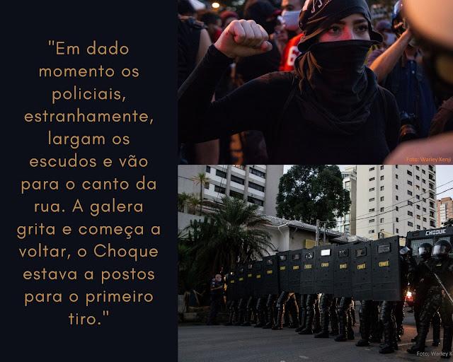 Texto legenda para duas fotos; moça com máscara encara policial e faz o gesto dos panteras negras e a tropa de choque posicionada em fileira