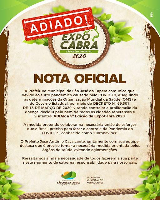 Prefeitura de São José da Tapera adia a 5ª Edição da ExpoCabra 2020 como medida de prevenção  ao Coronavírus