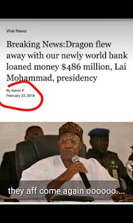 Dragon Flew Away with our Newly World Bank Loan $486M - Lai mohammed, presidency.