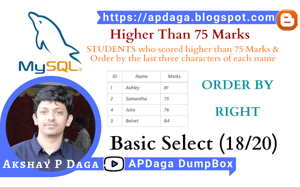 HackerRank: [Basic Select - 18/20] Higher Than 75 Marks |  RIGHT, ORDER BY in SQL