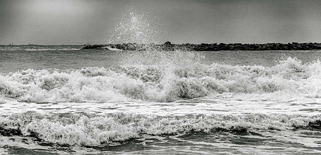 B%W.El mar rompiendo en espum blanca.