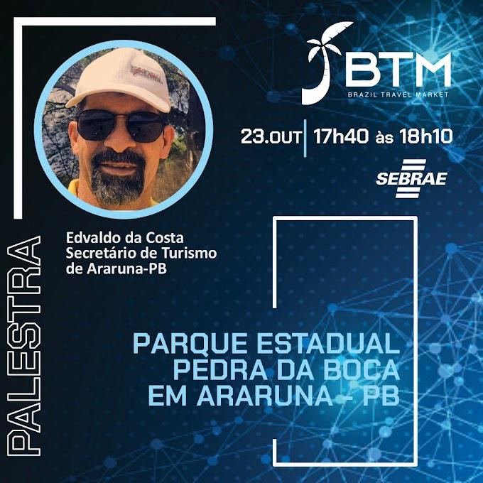 Secretário de Turismo de Araruna dará palestra sobre a Pedra da Boca na Brazil Travel Market, em Fortaleza