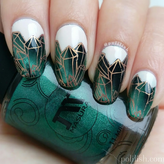 Emerald nail art with magnetic polish and reverse stamping, by polilish