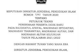 Juknis PPDB Madrasah (RA, MI, MTs, MA, MAK) Tahun Pelajaran 2021/2022