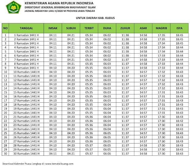 jadwal imsak waktu buka puasa kabupaten Kudus 2020 m ramadhan 1441 h tomatalikuang.com