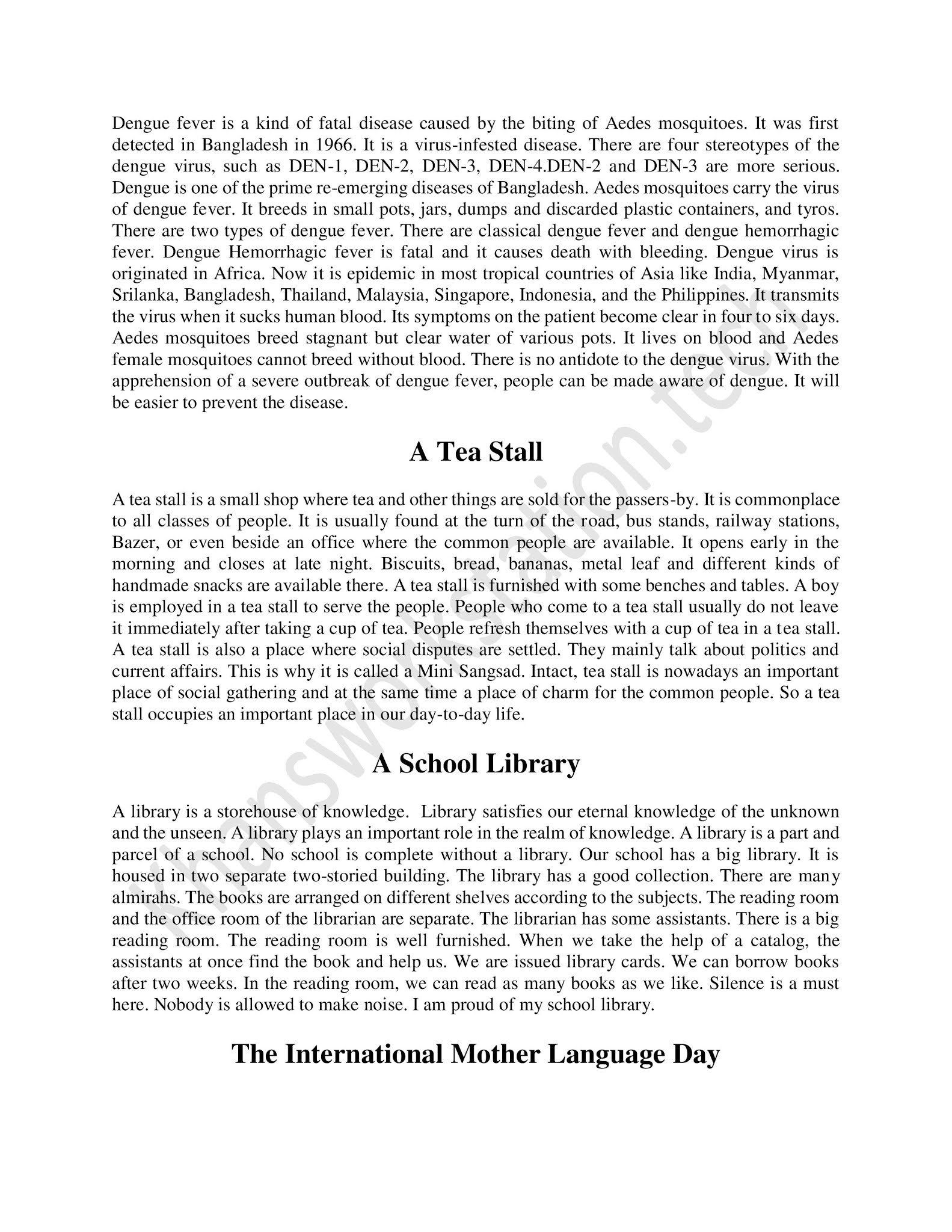 short paragraph in english