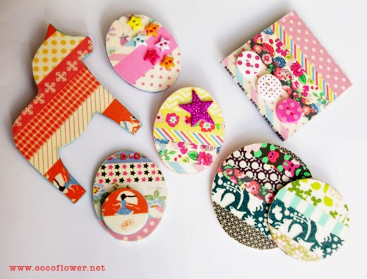 DIY broches washi masking tape - tuto brooch www.cocoflower.net