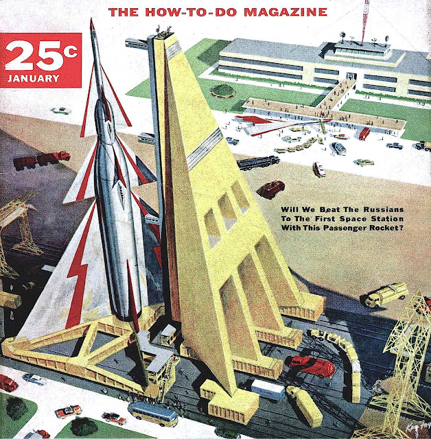 A Ken Fagg illustration rocket on launch pad