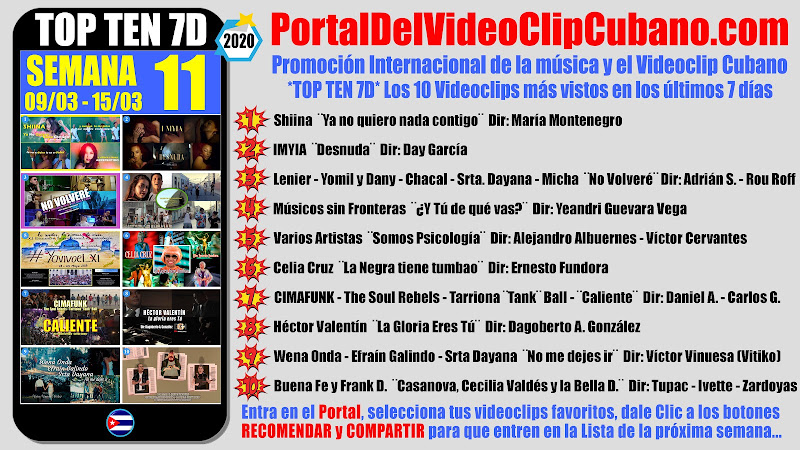 Artistas ganadores del * TOP TEN 7D * con los 10 Videoclips más vistos en la semana 11 (09/03 a 15/03 de 2020) en el Portal Del Vídeo Clip Cubano