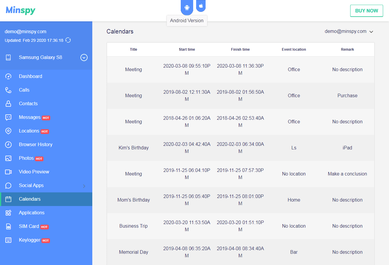 Minispy check calendar