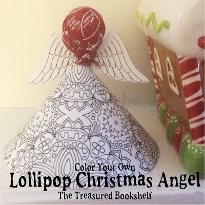 Print out this Adult Coloring page printable and make a fun Christmas angel for your Christmas party or book club.  This Printable angel craft comes together in moments and holds a yummy Tootsie Roll sucker for a sweet Christmas treat.