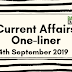 Current Affairs One-Liner: 4th September 2019
