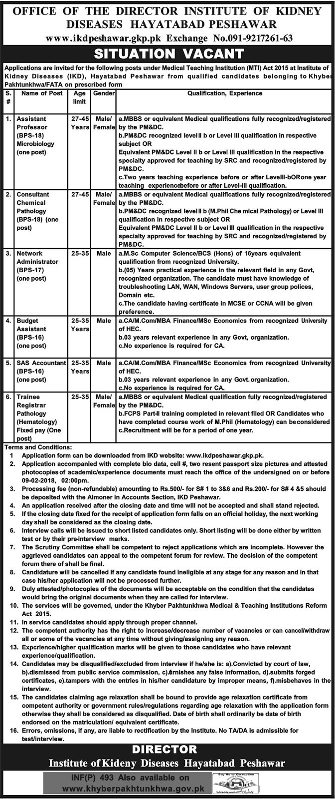 Jobs In Institute Of Kidney Diseases Hayatabad Peshawar Jan 2018