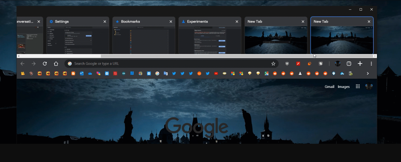 WebUI tab strip in Google Chrome