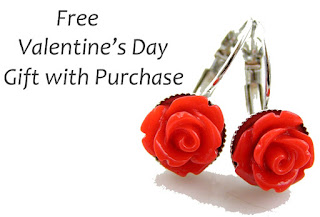 Free Gift with Purchase, Red Rose Earrings