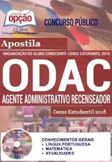 Apostila ODAC-SP Agente Recenseador Censo Estudantil ODAC/SP.