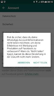 Screenshot WhatsApp-Nutzer-Account Meldung nach Zustimmung der Daten-Weitergabe an Facebook