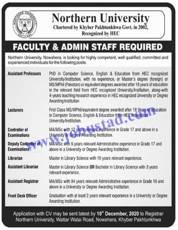 Jobs in Northern University Nov 2020