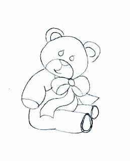 risco de ursinho com laço de fita para pintar