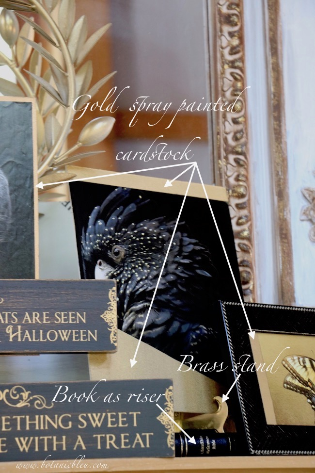 Elegant halloween black and gold mantel with cost free prints and inexpensive DIY card stock frames