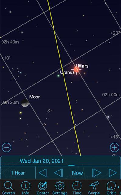 Sky Safari Pro screenshot showing the Jan 20 conjunction (Source: Palmia Observatory)