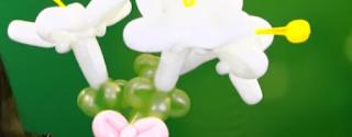 Ein Strauß weißer Lilien als Ballonmodellage.