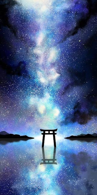 Cổng của vị thần giữa bầu trời sao đầy sắc màu