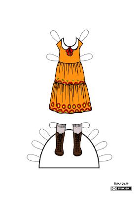 Kleit pabernukule Fredike, millel on ümarate nurkadega krae, lehv krae all ja mille seelik koosneb üksteise külge õmmeldud satsidest. Kleidi juurde käivad nöörsaapad ja põlvikud.