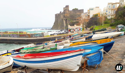 fishing boats in harbor & Norman Castle, Aci Castello | Sicily, Italy | wayamaya