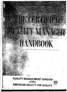 The Certified Quality Manager Handbook With Supplemental Section (ASQ) By Quality Management Division