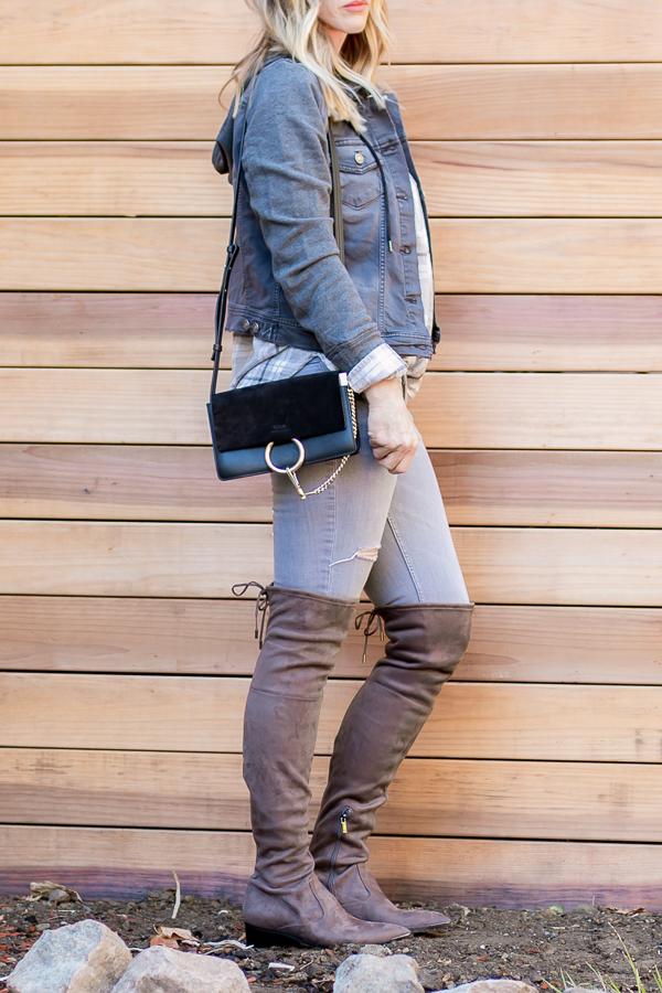 fall skinny jeans otk boots plaid denim jacket