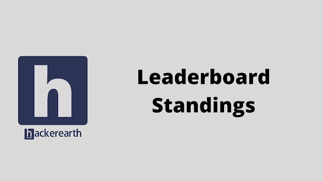 HackerEarth Leaderboard Standings problem solution
