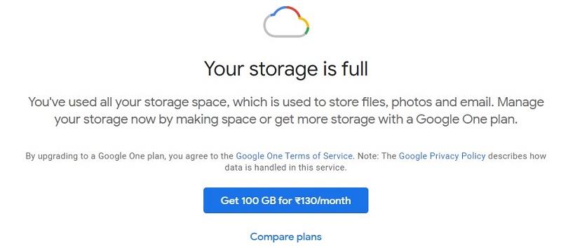 gmail storage full solution