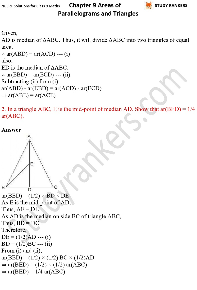 NCERT Solutions for Class 9 Maths Chapter 9 Areas of Parallelograms and Triangles Part 7