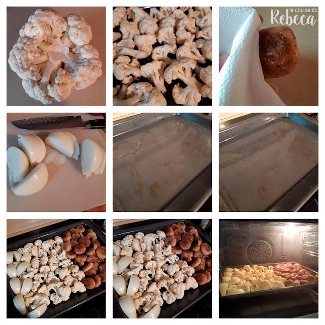 Receta de crema de coliflor y setas asadas: preparación de las verduras