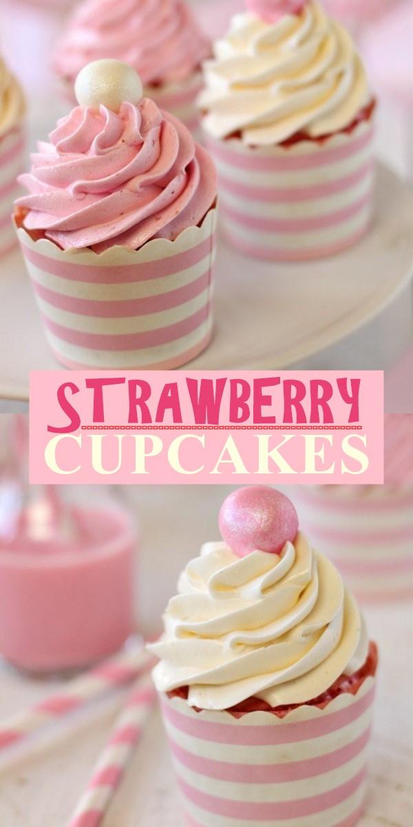 STRAWBERRY CUPCAKES #cupcakerecipes